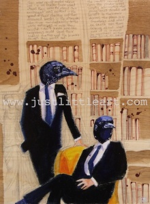 Turn on images to see Magpies In A Study, a painting by Justina Smith