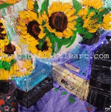 Turn on images to see Sunflowers And Crates, a painting by Justina Smith