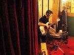 Brian meditating over his bass part.